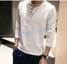Mens Cotton Linen Long Sleeve Slim Fit Button new Dress New Shirts Tops Leisure