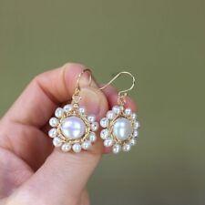 LovelyBaroque Button 10mm Freshwater pearl White Sun Flower 14KGF earring AAA