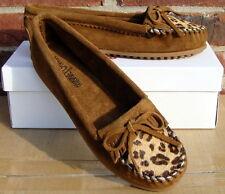 Minnetonka Women's Leopard Kilty Moc - Dusty Brown Suede - 9