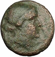 KYME in AEOLIS 250BC Amazon Woman Horse Cup Authentic Ancient Greek Coin i52565