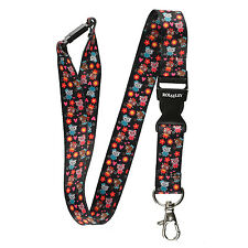 Rolseley Black Lanyard neck strap with Kittens and with metal clip