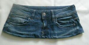 6 3/4 Inch Length  Blue Denim  Micro Mini Skirt - G Star Raw - Size 12