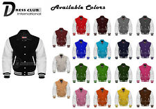 Men's Varsity Jackets Genuine Leather and Wool Letterman Collar Fashion Jackets