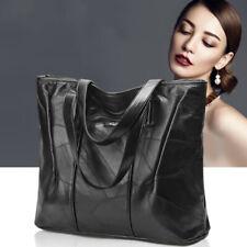 Stylish Women's Soft Leather Handbag Large Capacity Shoulder Bag Black Tote Bag