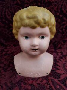 Antique German Minerva Painted Metal/Tin Shoulder Head Doll Head