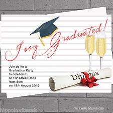 Graduation Hat Celebration Graduate Party Invitations x 12 +envs H0744