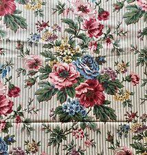 RAYMOND WAITES STRIPE FLORAL FABRIC Upholstery Drapery Garden Lane Vintage 1989