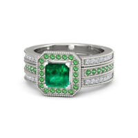 1.18 Ct. Natural Emerald Gemstone Real Diamond Ring 14K Solid White Gold Deal