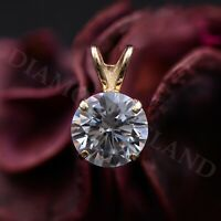 1.30 CT Round Cut Created Diamond Pendant 14K Solid Yellow Gold