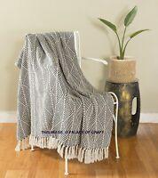 Ethnic Black Herringbone Cotton Couch Throw Rug Sofa Art Decor Bohemian Blanket