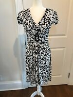 Suzi Chin for Maggy Boutique Short Sleeve Dress Black White Belted Floral Size 6