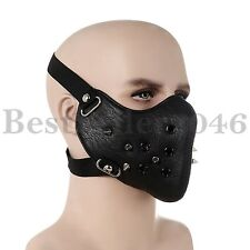 Half Face Spike Motorcycle Bicycle Protective Mask Rivets Leather Steampunk