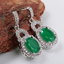 New fashion Elegant 925 silver green Emerald  Jewelry  Ear Studs earrings A63
