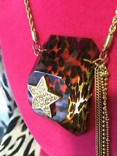 Betsey Johnson Vintage Lucite Leopard Block Crystal Star Lightning Bolt Necklace