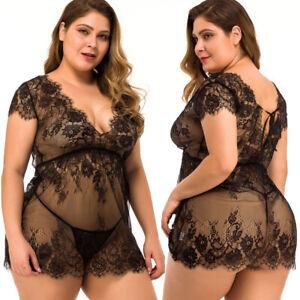 Plus Size Sexy Lingerie Women Eyelash Lace Babydoll Sleepwear Nightgown Dress US