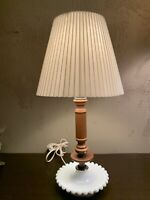 Vintage Milk Glass Hobnail Wood Electric Table Lamp