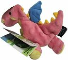 """Godog Coral Pink Dragon With chew guard 8""""x6"""" plush dog toy squeaker Small"""