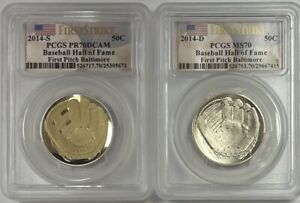 2014 S & D Baseball Hall of Fame F/S First Pitch Baltimore PCGS MS/PR70DCAM Set