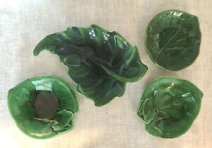 4 Pc. Vintage GREEN MAJOLICA GRAPE LEAF PLATES Wedgwood Malkin