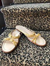 Tod's Yellow Patent Leather Flat Wood Wedge Driving Slide Sandals Size 40