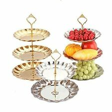 Cake Buffet Stand 3 Tier Gold Stainless Plate Display Food Dessert Wedding Party