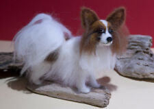 Papillon - One of a kind, needle felted, dog, sculpture