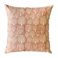 Tree of Life Coral Peach Hand Block Print Cushion 2Pcs