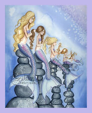 MY MERMAID GIRLS family daughter Print from Original Painting By  Grimshaw