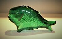 "Vtg. Emerald Green Glass Fish Bottle Decanter Vase 8"" long x 4 1/2"" tall x 2"" w."