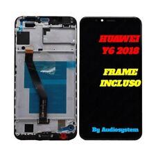 DISPLAY LCD +TOUCH SCREEN FRAME HUAWEI per Y6 2018 ATU-L21 L11 NERO VETRO TELAIO