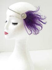 Violet Argent Plume De Paon Coiffe 1920s Bandeau De Clapet Grand Gatsby 17