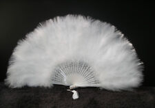 """MARABOU FEATHER FAN - WHITE Feathers 12"""" x 20"""" (Burlesque/Halloween/Bridal) NEW!"""