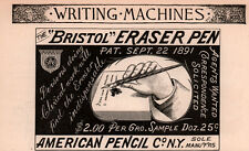 1892 AD  BRISTOL ERASER PEN AMERICAN PENCIL CO