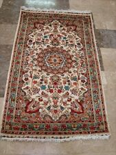 Ivory Floral Oriental Hand Knotted Rug Wool Silk Carpet (5 x 3)'