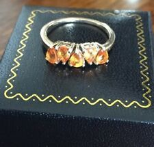 Ladies Heavy Vintage 9ct Gold & 5 Stone Citrine Cluster Ring ~ Size R.5 ~ 3.1g