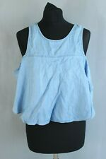 GUESS Cropped Top Size M Blue Draping Details Faded Split Back Sleeveless