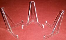 "~Lot of 12 *Small Plus* Clear Acrylic 3-3/8"" Display Stand Easels Holders"