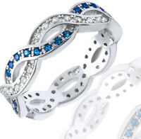 Blue Sapphire CZ Round and Clear CZ Sterling Silver Infinity Band Ring