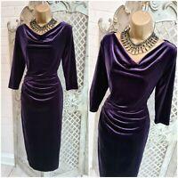 PER UNA SPEZIALE  UK 8 Purple Velvet Cowl Ruched Wiggle Dress Mother of Bride