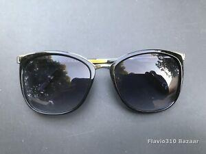 Authentic DANA BUCHMAN SR1118 Cat Eye Black & Silver Sunglasses Gradient Lenses