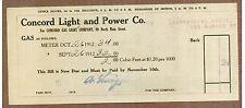 Billhead, Concord (Massachusetts) Light and Power Co., Bill For Gas, 1912