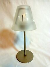 "TEA LIGHT CANDLE HOLDER 8"" Lamp with Frosted Shade Dove Birds Metal"