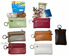 Lot of 7. Change purse,Black Leather Zip coin wallet 2 pocket coin case key ring