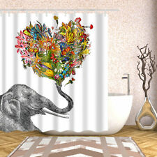 Bathroom Shower Curtain Elephant Heart-shaped Floral Design Curtains + 12 hooks