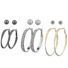 Lux Accessories Tri Tone Hem Silver goldtone Stud and Hoop Earring Set 6 pcs
