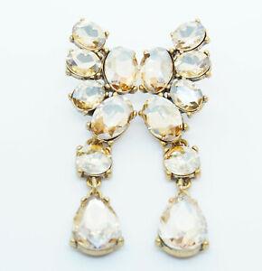 Signed OSCAR DE LA RENTA Champagne Asymmetrical Crystal Drop Stud Earrings
