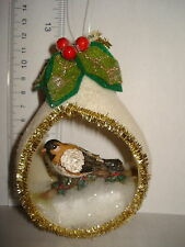 Bird Ornament Pear Shaped Diarama Bird with Holly 82101 276