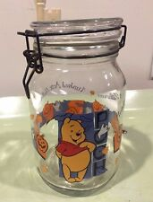 """Disney Winnie the Pooh Hundred Acre Halloween Glass Canister Jar w/ Lid 7.75"""""""