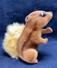Vintage Flocked Brown Squirrel Animal Toy With Fur Tail