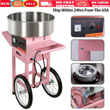 Electric Commercial Cotton Candy Machine Sugar Floss Maker Pink With Cart Stand A